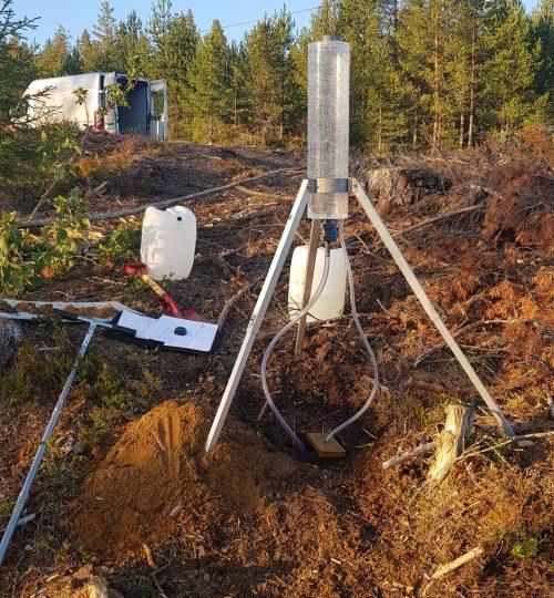 Infiltrasjonstest for rensanlegg til ny enebolig i Bingen, Skotselv